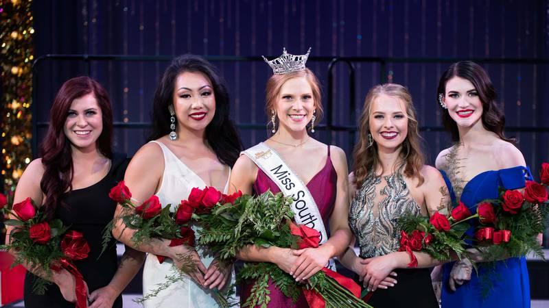 Miss South Dakota and her court: 3rd runner-up Miranda O'Bryan, 2nd runner-up Annie...