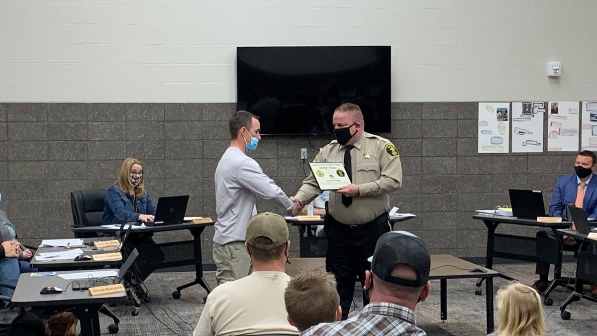 A Lennox School District employee was honored by the Lincoln County Sheriff for his actions...