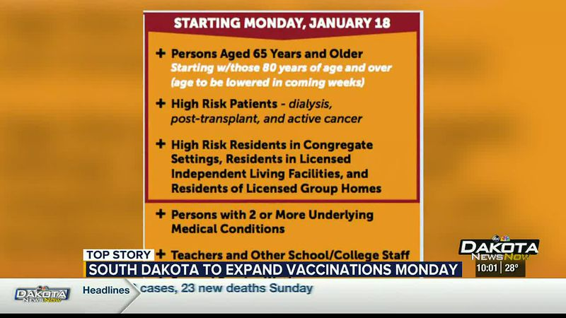 Group 1D to start receiving COVID-19 vaccine Monday in South Dakota