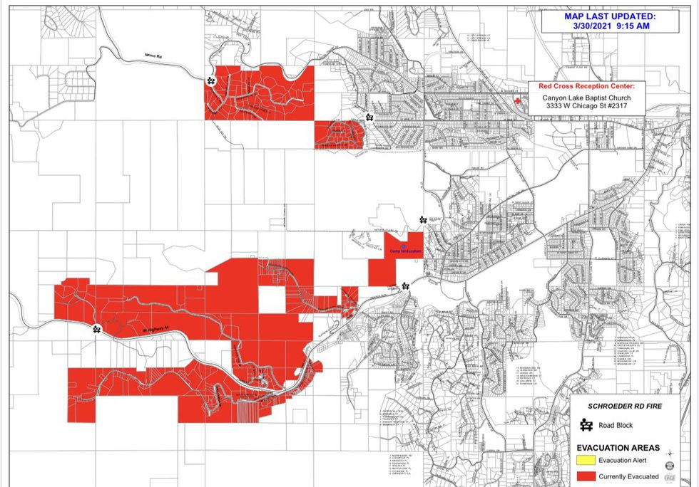 Schroeder Fire evacuation map as of 10 a.m. March 30