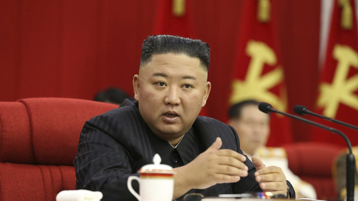In this photo provided by the North Korean government, North Korean leader Kim Jong Un speaks...