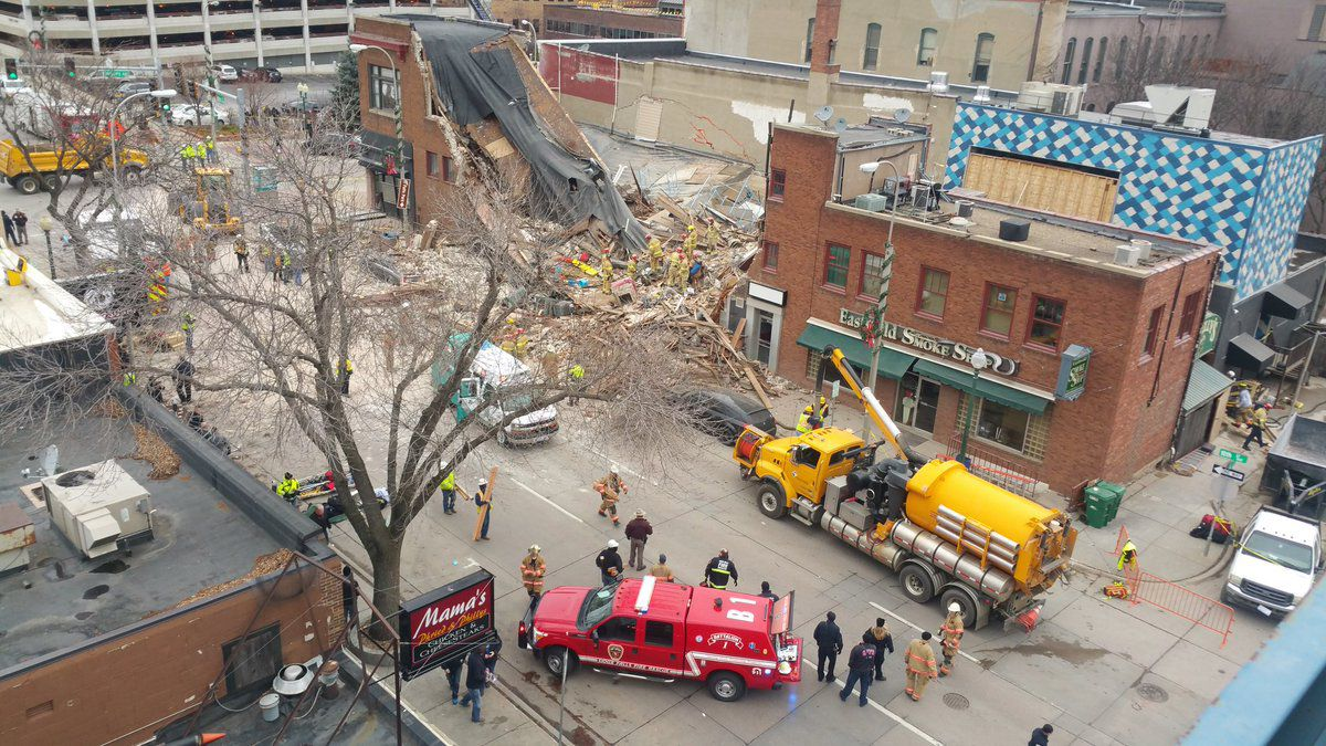 Emergency crews respond to the collapse of the Copper Lounge building collapse in 2016 (file photo)