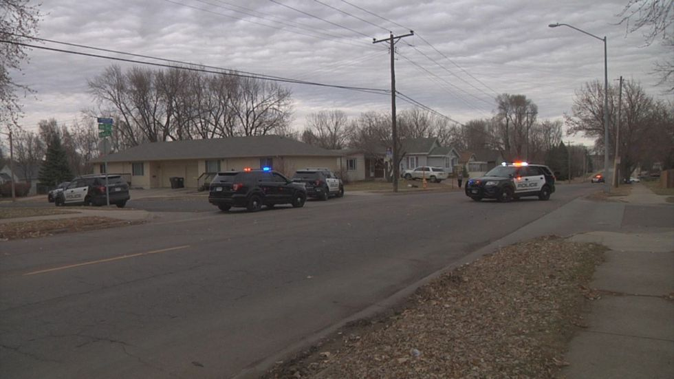 Police respond to a report of a shooting in east-central Sioux Falls Monday.