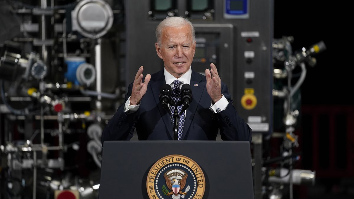 FILE - In this Feb. 19, 2021 file photo, President Joe Biden speaks after a tour of a Pfizer...