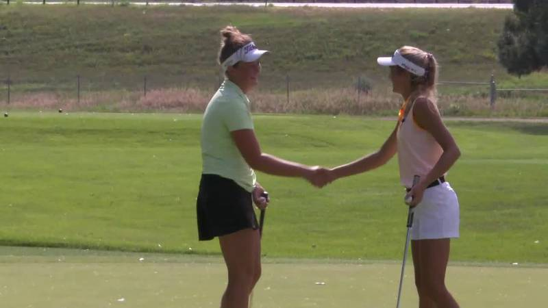 Following the end of their playoff for the SDGA/Sanford Golf Series Championship won by Jansa