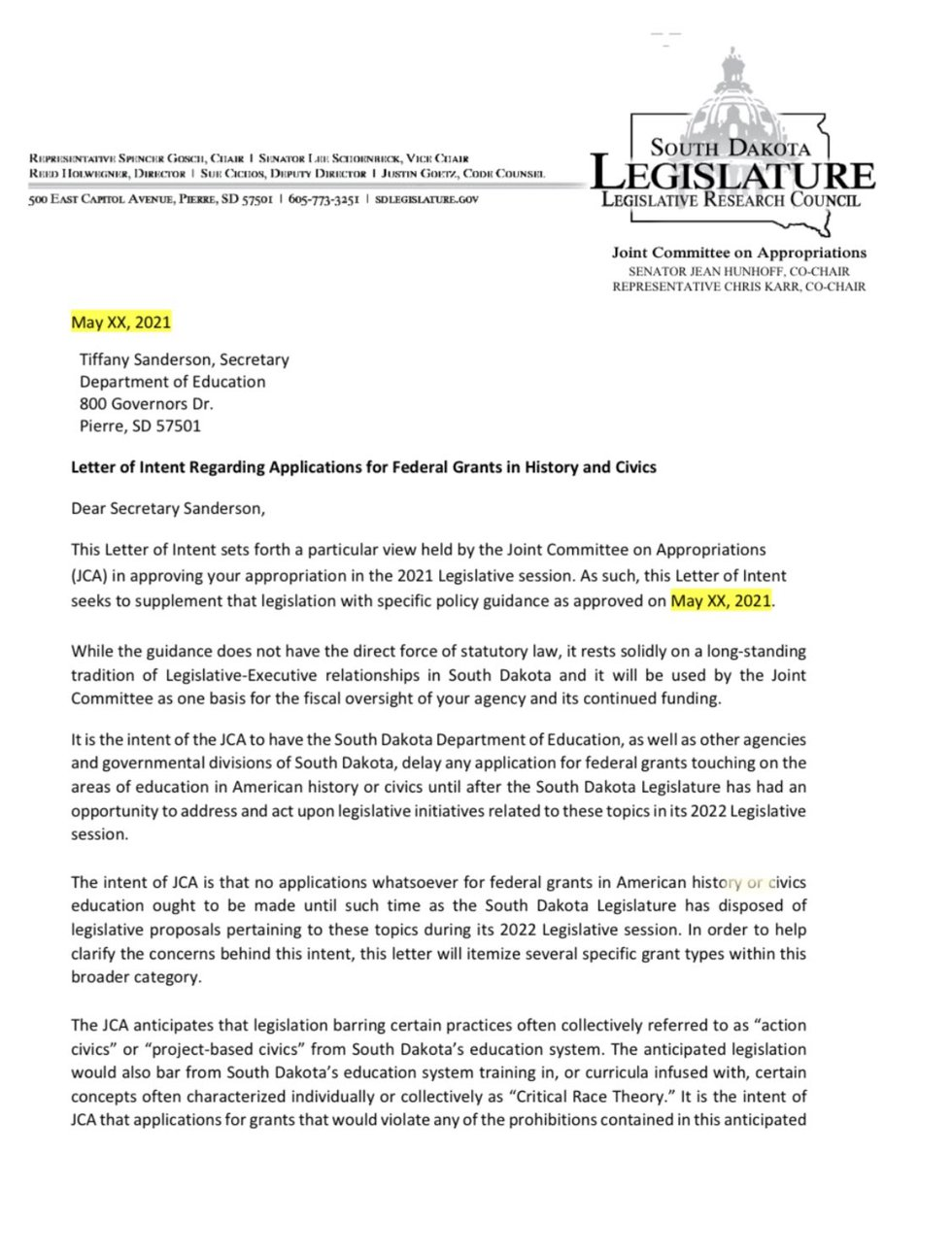 The SD Legislative Joint Appropriations committee sent a letter to Secretary Tiffany Sanderson...