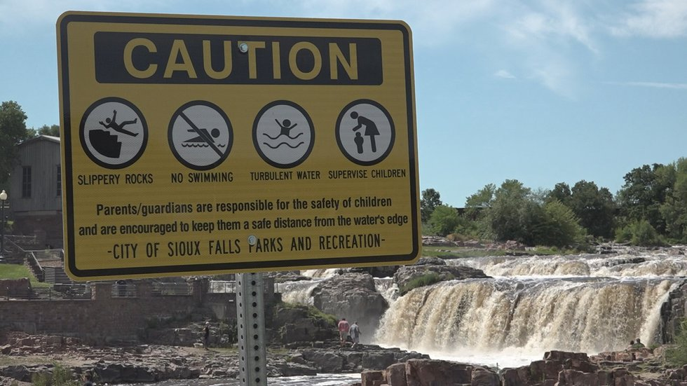 The City of Sioux Falls placed warning signs in Falls Park following the 2018 drowning.
