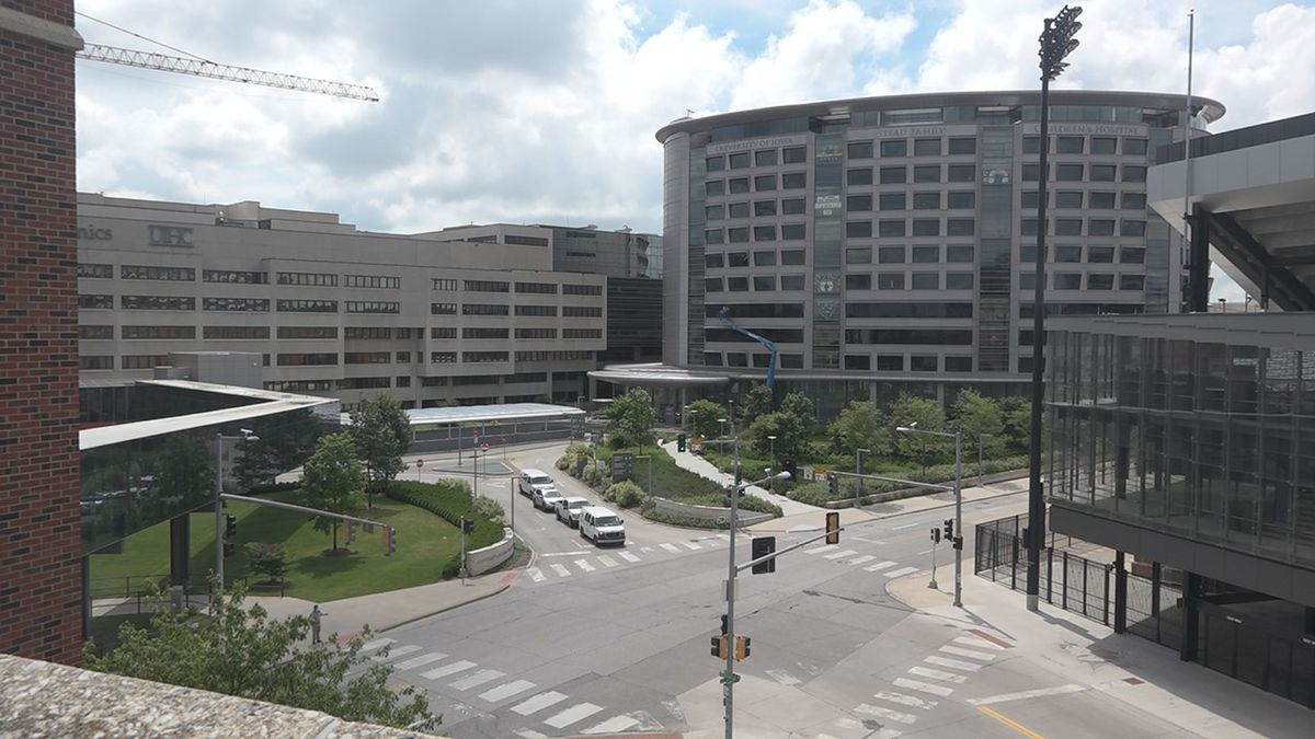 The University of Iowa Hospitals and Clinics in Iowa City on July 17, 2020. (Aaron...