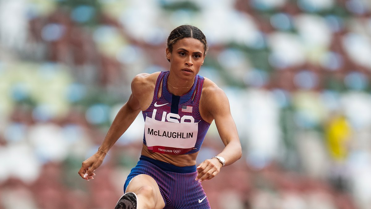 United States' Sydney McLaughlin competes in a heat in the women's 400-meter hurdles at the...