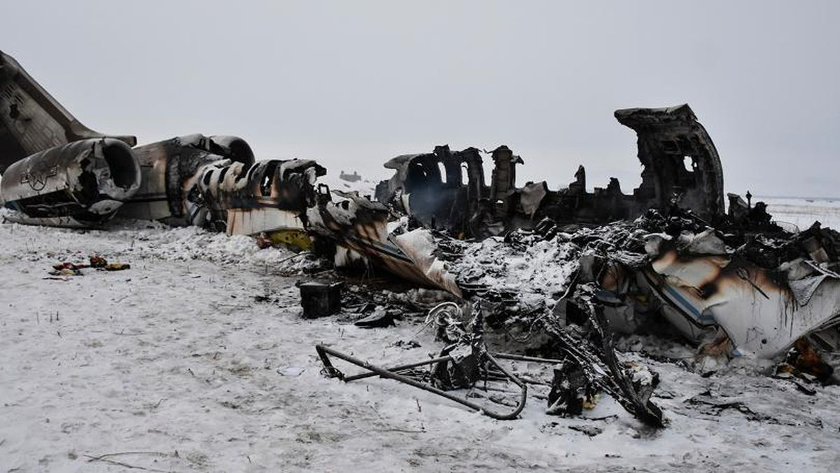 A wreckage of a U.S. military aircraft that crashed in Ghazni province, Afghanistan, is seen...