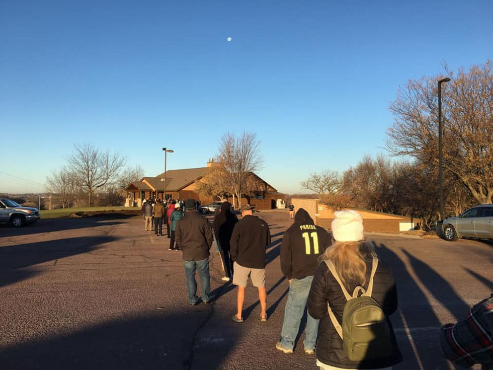 Line at a polling location in South Dakota Tuesday morning.