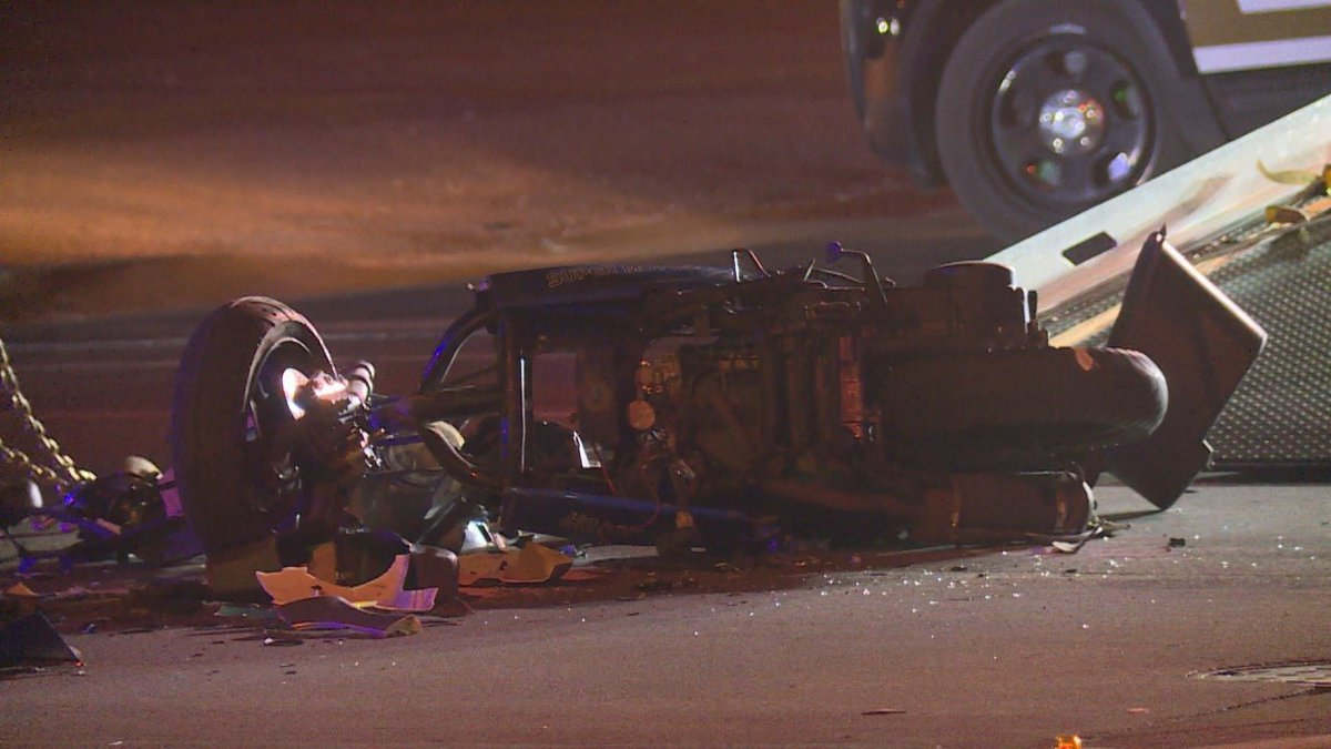 Aftermath of crash involving a moped during a pursuit in central Sioux Falls.