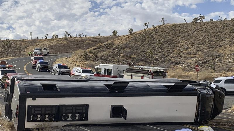 This photo provided by the Mohave County Sheriff's Office shows a Las Vegas-based tour that...