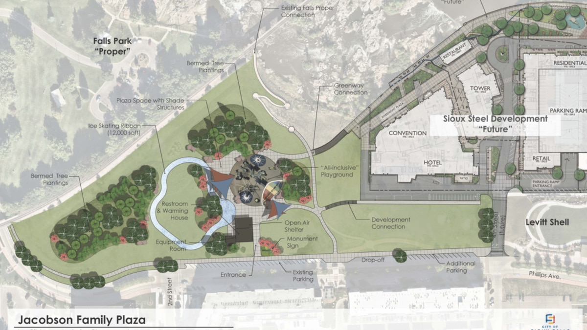 The project would rename the area the Jacobson Plaza at Falls Park. The new additions would sit...