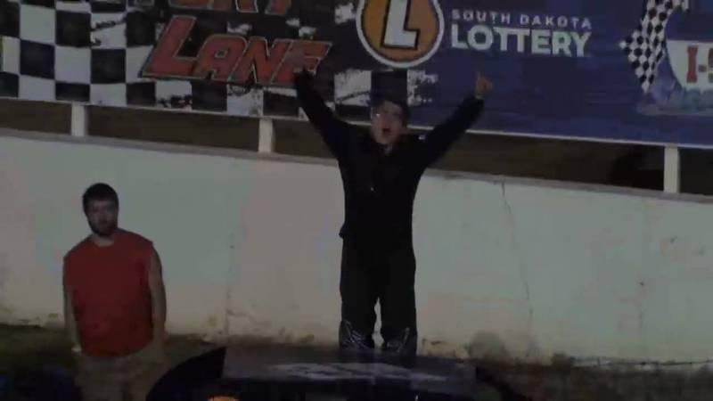 Celebrates win at I-90 Speedway
