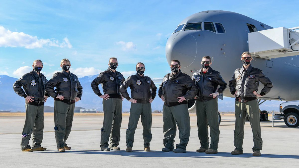 The all-female aircrew pose for a photo Jan. 22, 2021, at Peterson Air Force Base, Colorado....