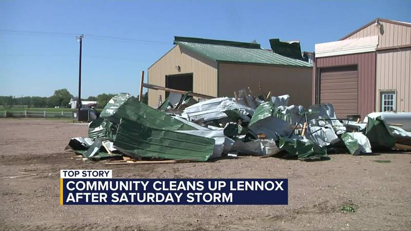 Lennox community comes together to help clean up after storm