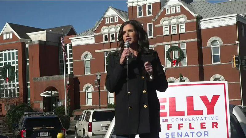 South Dakota Governor Kristi Noem campaigns for Kelly Loeffler in Georgia.
