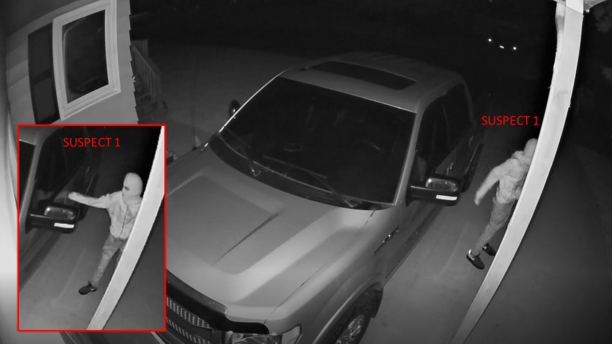 Surveillance image of the car theft attempt in Harrisburg, courtesy Lincoln County Sheriff's...