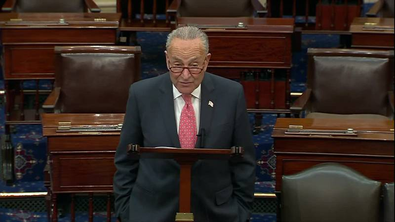 Senate Majority Leader Chuck Schumer discusses infrastructure bill during a rare weekend session.