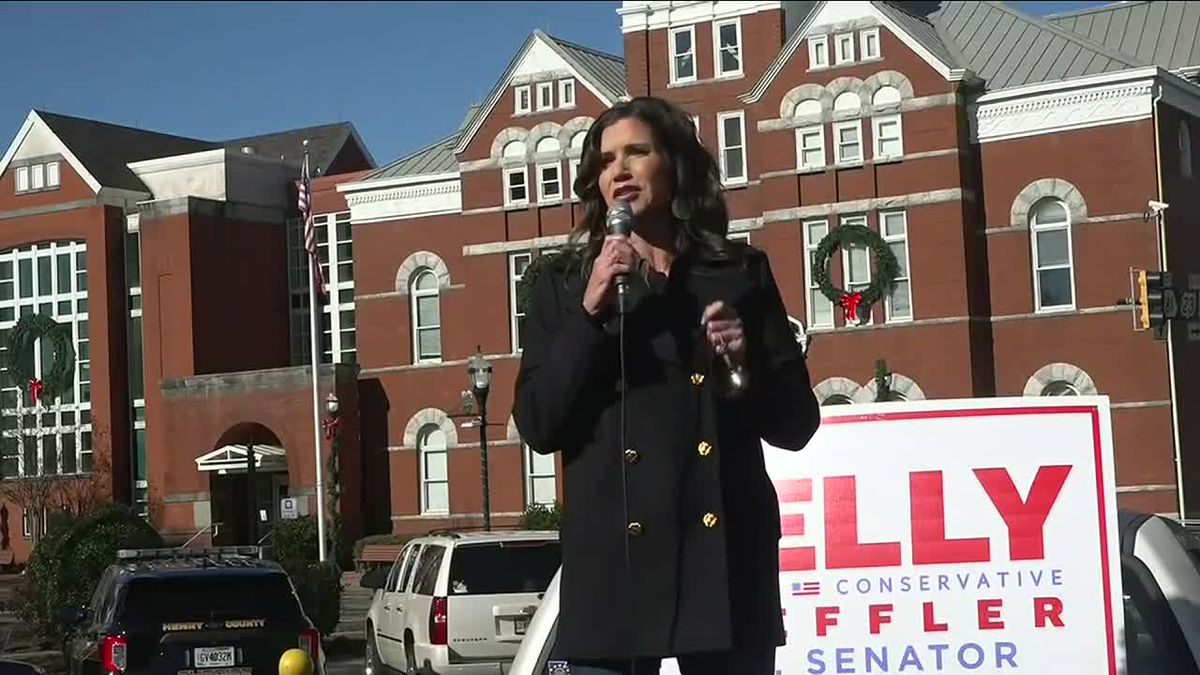 South Dakota Governor Kristi Noem campaigns for Kelly Loeffler in Georgia.