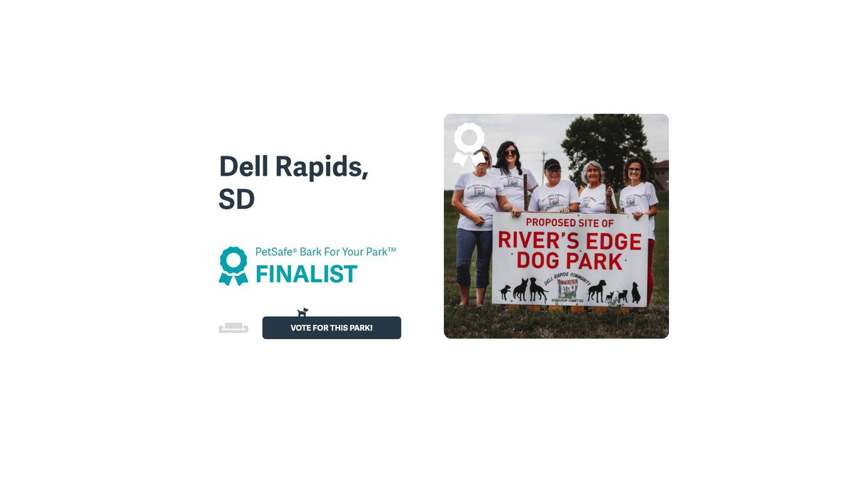 """Dell Rapids was named one of thirty finalists in the pet-safe """"Bark for Your Park"""" grant contest."""