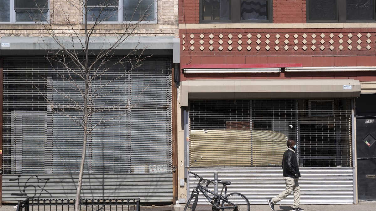 Two storefronts are empty, Monday, April 5, 2021 in New York.