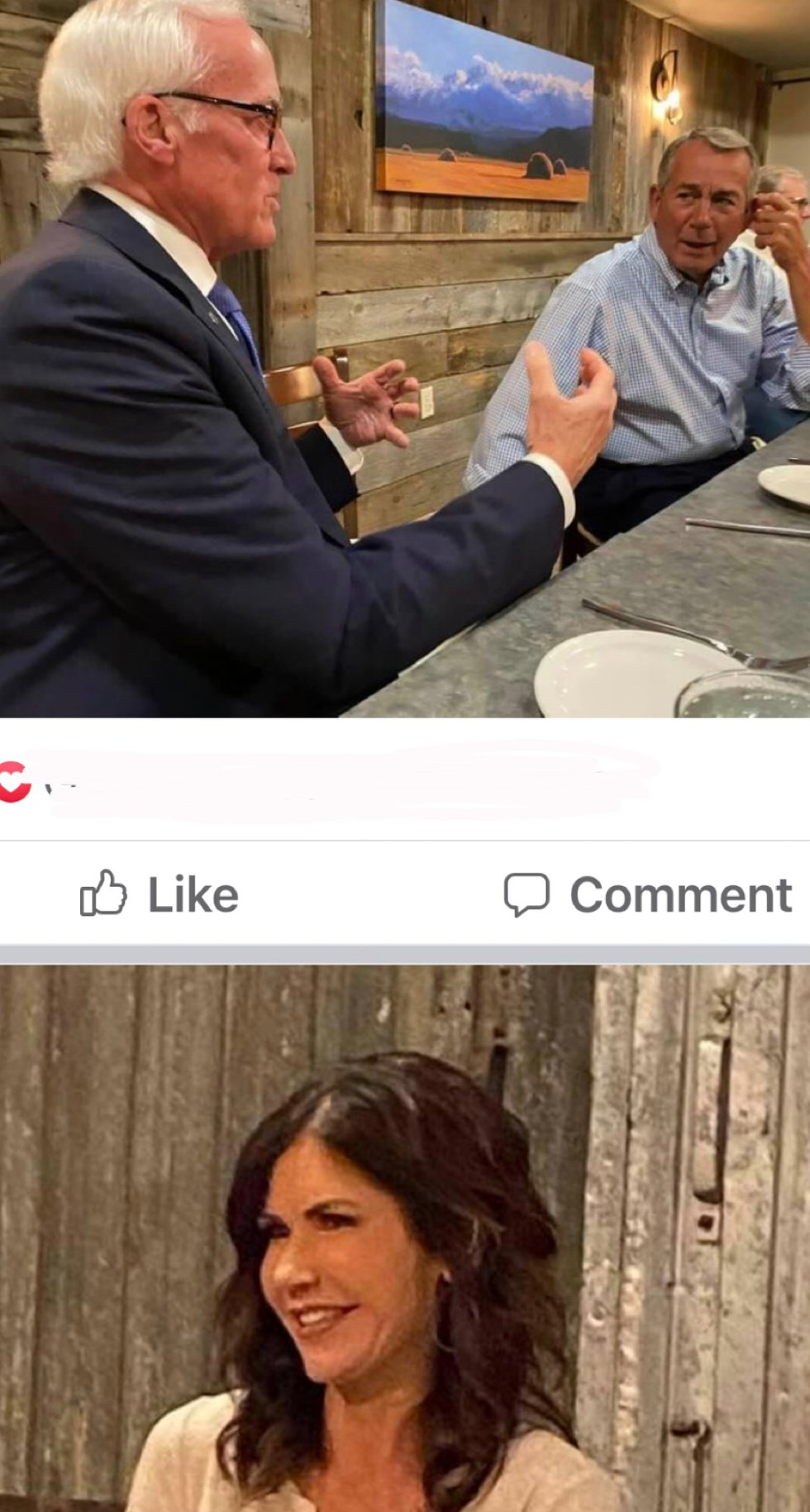 Facebook caption from an attendee Johnson fundraiser with Boehner, Noem
