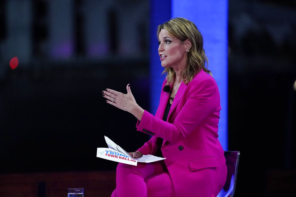 Moderator Savannah Guthrie speaks during an NBC News Town Hall with President Donald Trump at...