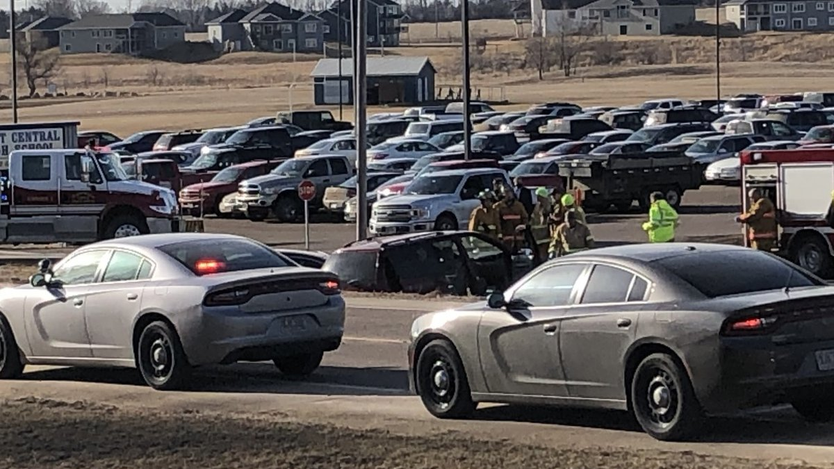 Authorities respond to a crash outside West Central High School in Hartford on March 8.