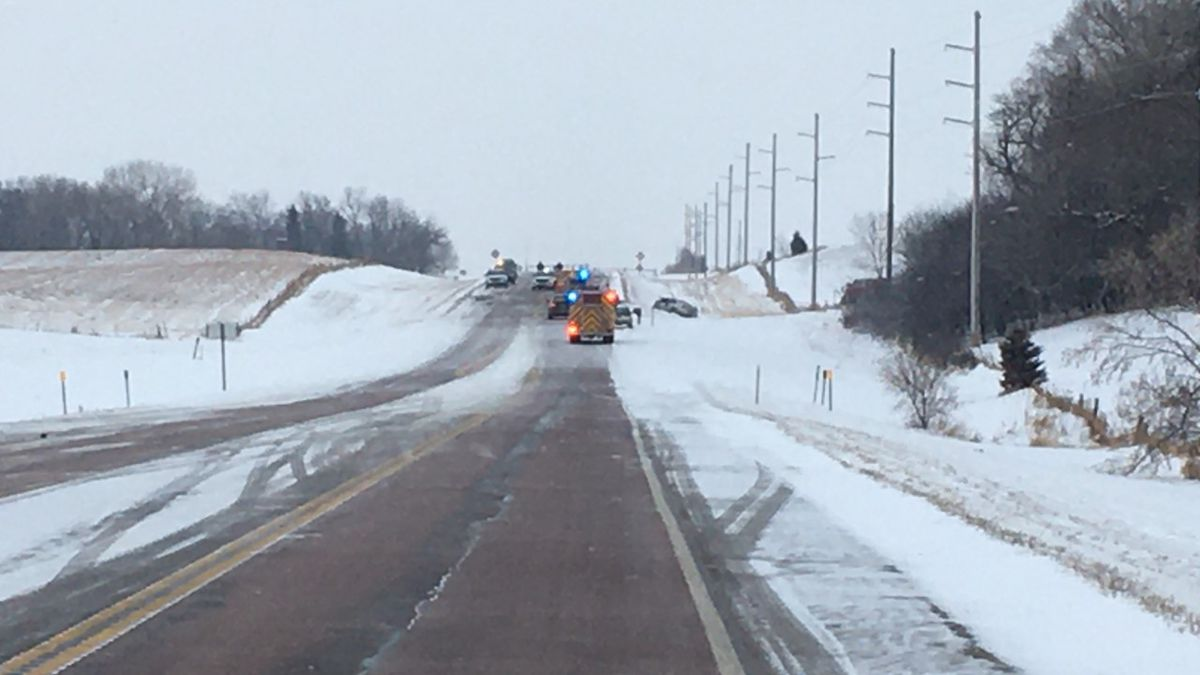 Multiple agencies responded to a crash along Highway 38 Wednesday morning.