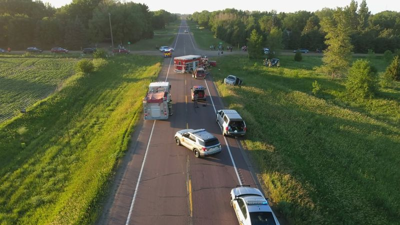 Multiple law enforcement agencies respond to a multi-vehicle crash on Highway 11 just southeast...