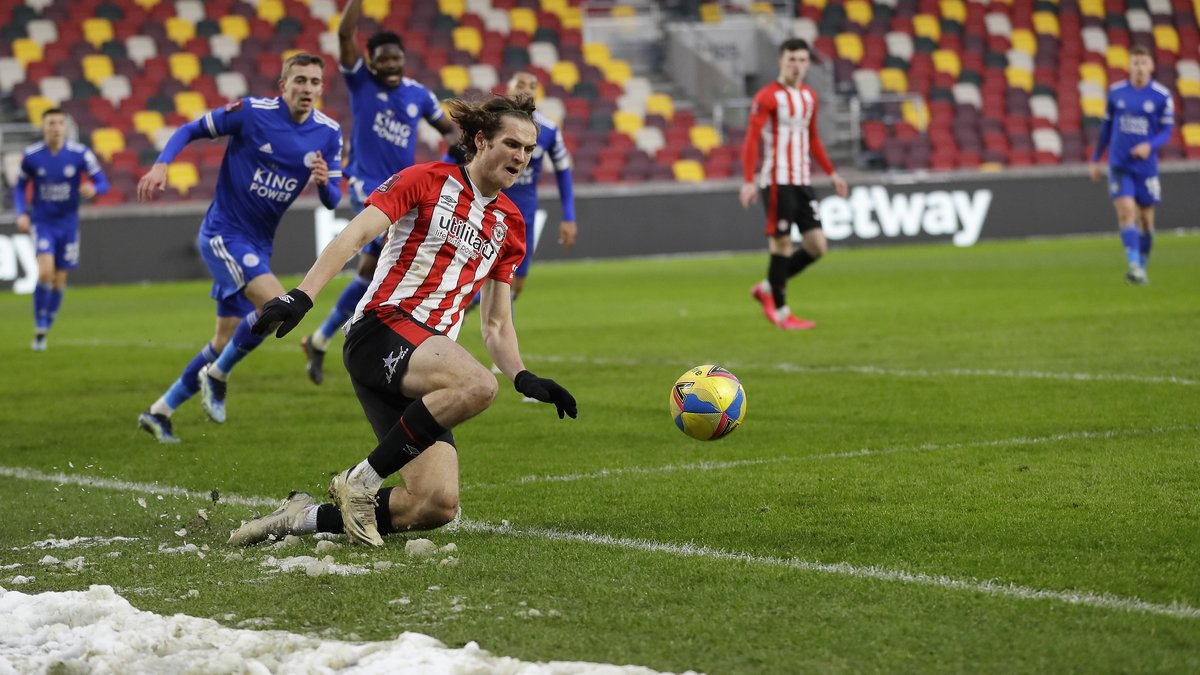 Brentford's Aaron Pressley controls the ball during the English FA Cup fourth round soccer...