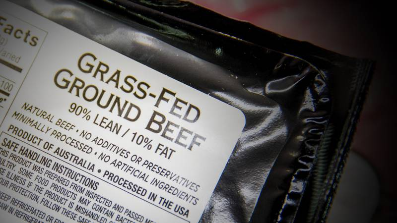 FILE -In this May 19, 2015 file photo, meat labels are seen at a grocery store in Washington....