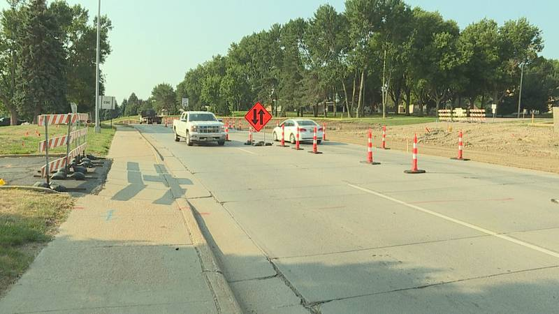 Traffic cones line Minnesota Avenue, between 57th Street and 69th Street, in Sioux Falls.