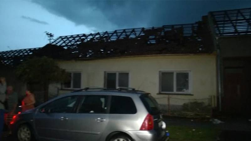 A damaged building is seen after a tornado tore through towns in the Czech Republic on Thursday.