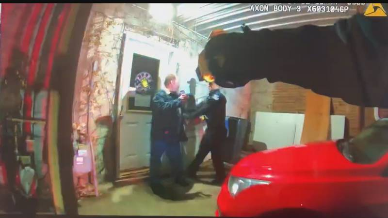 Bodycam video captures Officer Keshaun Britt moving in to arrest Shannon Brown as another...