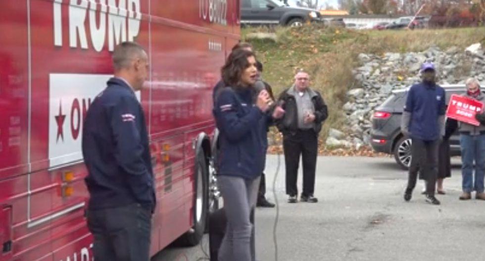 Gov. Kristi Noem speaks at a campaign rally for Pres. Trump in Bangor, Maine