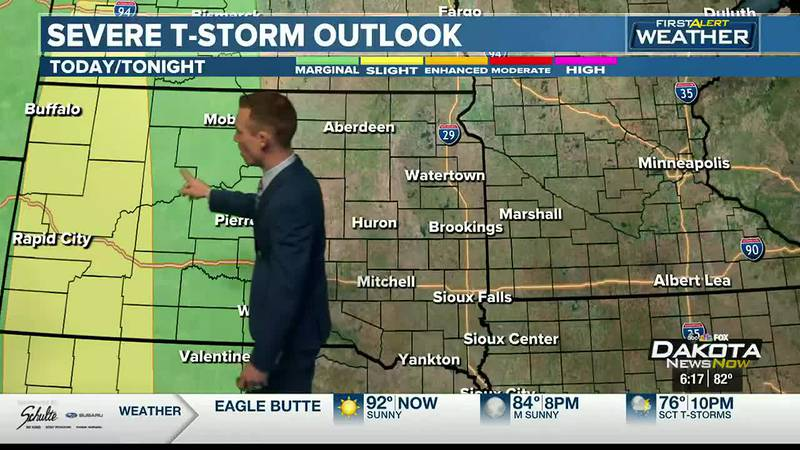 Isolated storms will be possible in central South Dakota by Sunday.