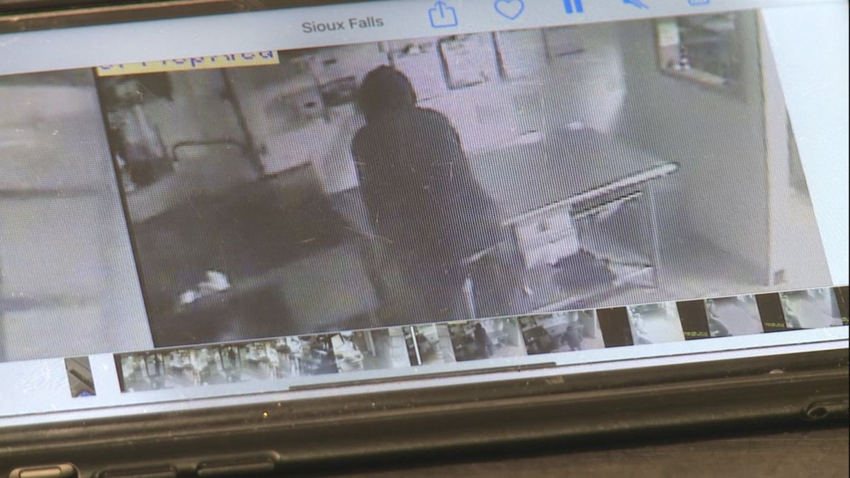 Surveillance video catches a robber inside a Sioux Falls Subway store