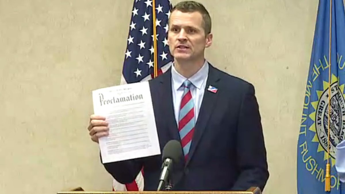 """Sioux Falls Mayor Paul TenHaken issues a """"safer at home"""" proclamation,..."""