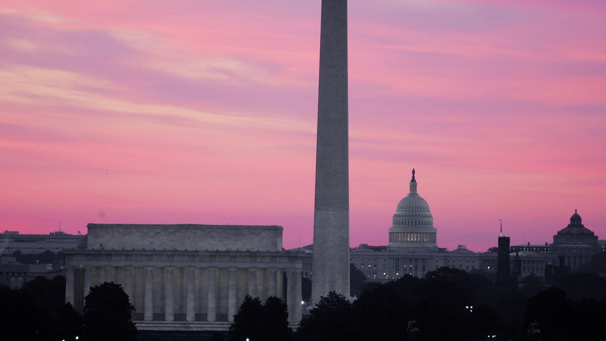 The skyline of Washington, D.C., including the Washington Monument, the Lincoln Memorial and the U.S. Capitol.