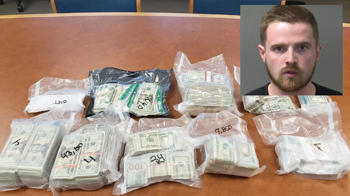 Drew Miller, superimposed over vacuum-sealed money allegedly found in his minivan during a...