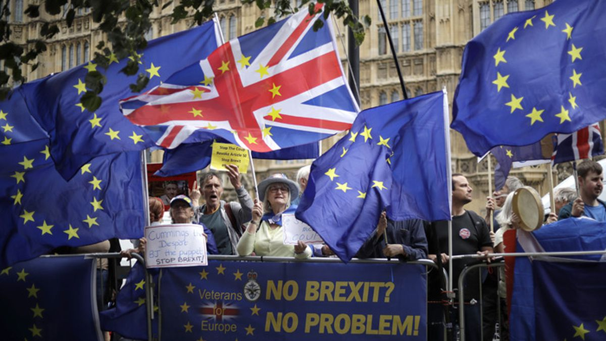 Remain supporters wave flags and hold signs as they protest opposite Parliament Square in...