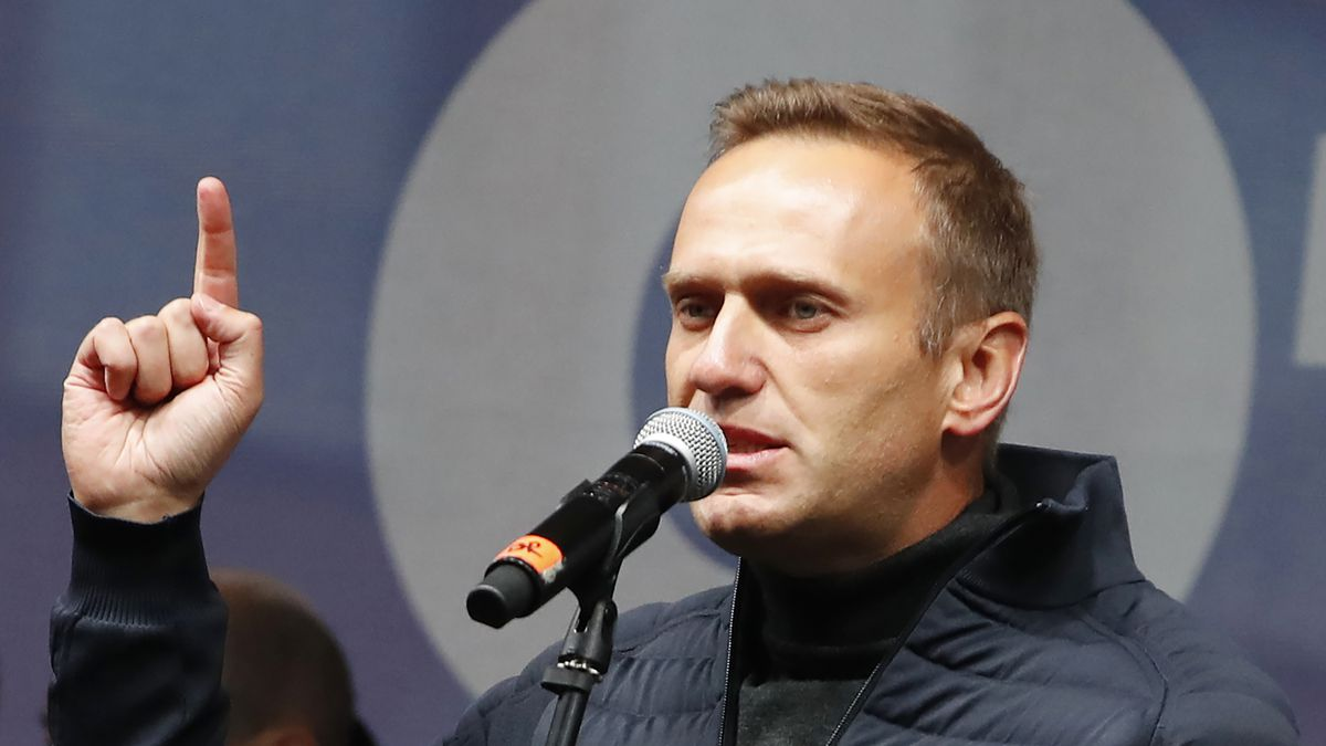 Russian opposition leader Alexei Navalny speaks during a rally to support political prisoners...
