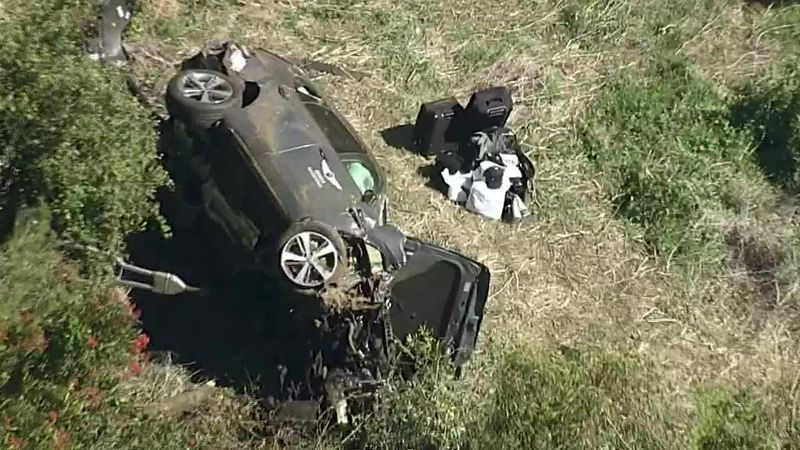 The vehicle Tiger Woods was driving rolled over several times Tuesday, authorities said.