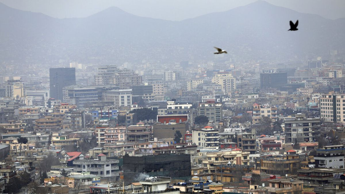 FILE - In this Feb. 1, 2021 file photo, birds flyover the city of Kabul, Afghanistan. The...
