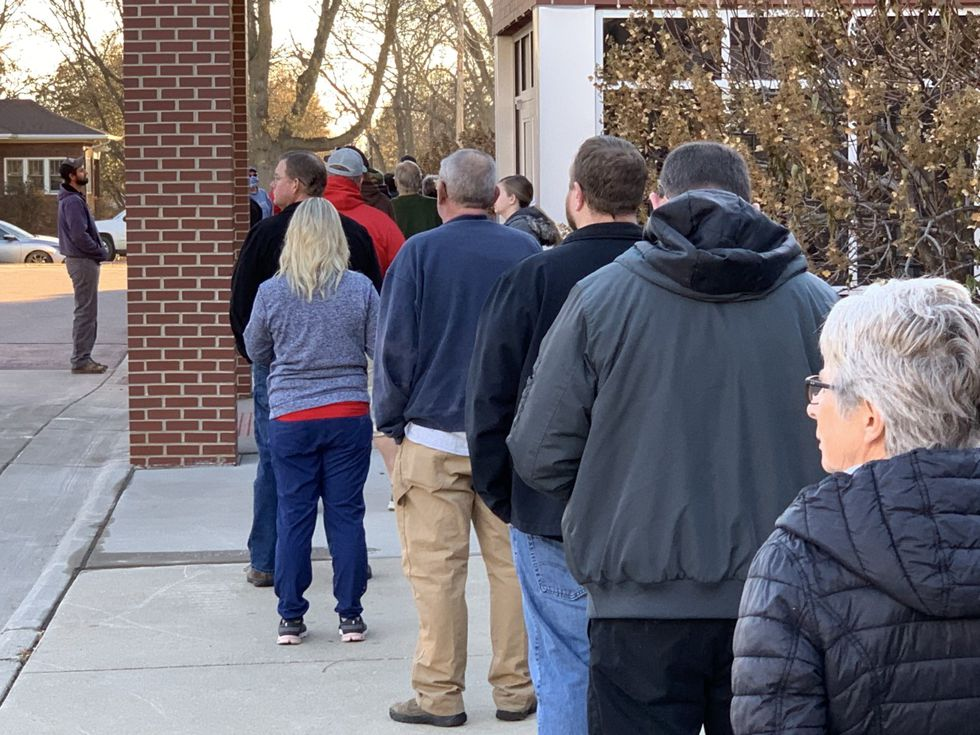 Line at a polling location in Dell Rapids Tuesday morning.