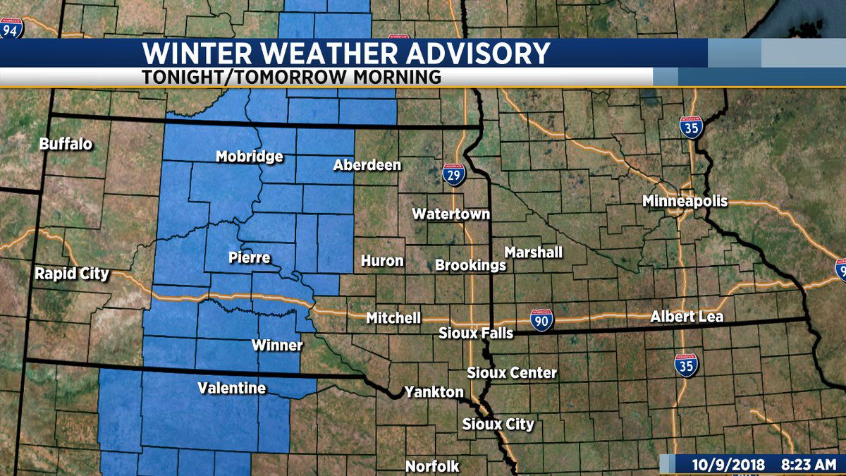 south dakota weather map Winter Weather Advisory To Take Effect Across Central South Dakota south dakota weather map