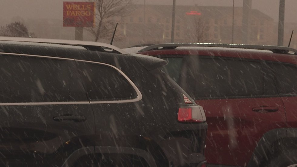 A small snow squall moves across southeastern South Dakota early Friday morning.